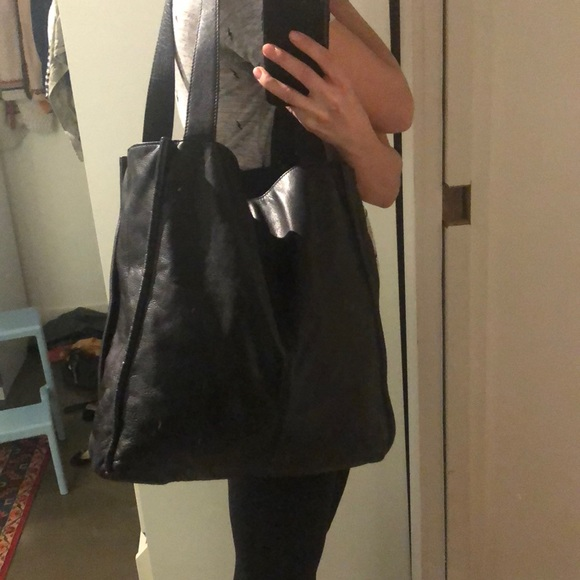 ON HOLD Black leather tote - medium to large
